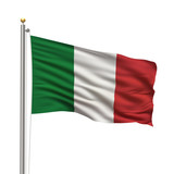 Flag of Italy waving in the wind over white background