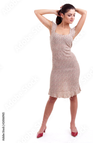 young posing woman with raised arms