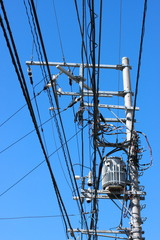 Electric transformer with pole
