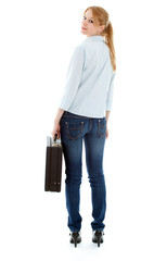 blond hair young woman with black suitcase