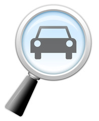 "Magnifying Glass Icon ""Used and New Cars"""