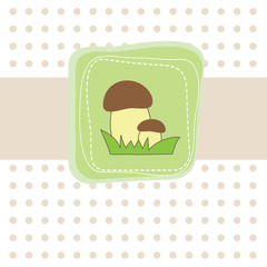 Simple card with mushroom. Vector illustration
