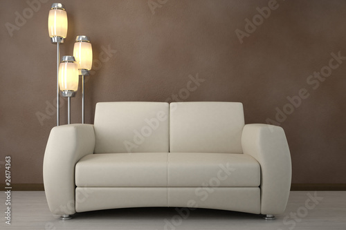 Design interior. Sofa in modern room