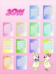 Calendar of 2011 in Russian, with rabbits - a symbol of year.