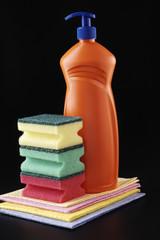 detergent and sponge