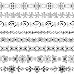 Black and white seamless borders