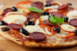 Pizza with Chorizo Salami and Mozzarella