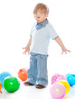Little boy in balloons
