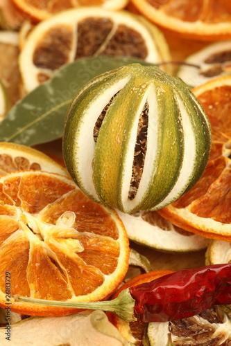 Fotobehang Plakjes fruit Potpourri