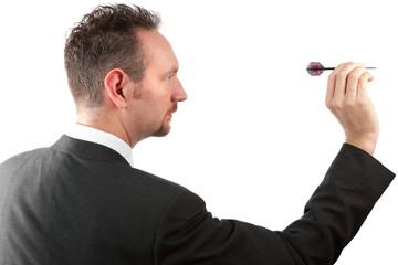 Businessman Throwing a Dart
