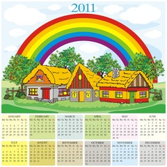 calendar 2011 village and rainbow