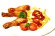 Chicken mit Mayo , Ketchup und Pommes