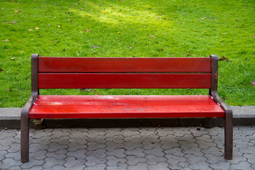 Red bench and green grass
