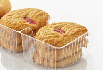 strawberry cookies in a box