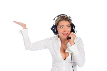 woman air traffic controller talking on headset