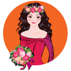 Beautiful girl with flowers. Vector art-illustration.