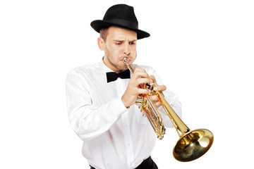 Young man playing a trumpet