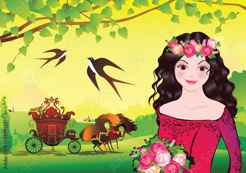 Foto op Aluminium Kasteel Beautiful princess on landscape background. Fairy-tale.