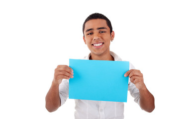 young latin man, with blue  card in hand