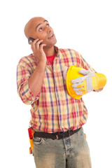 Construction worker at the phone