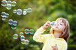 Child starting soap bubbles