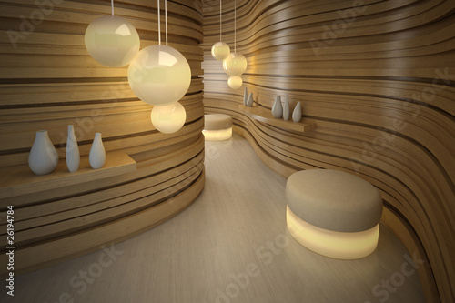 Lighting pouffe in modern room. Design interior