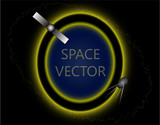 vector illustration space satellite