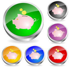 Sparschwein-Button Set