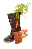 dutch tradition: shoe with carrot and present