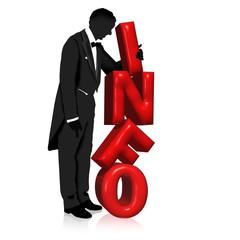 Mann im Anzug stapelt INFO Buchstaben