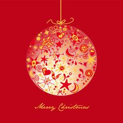 tarjeta de navidad roja con bola