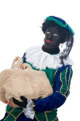 Zwarte Piet with bag