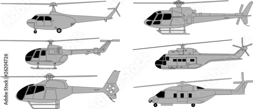 Vector pack of various high detailed helicopters