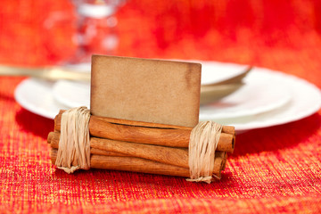 aromatic christmas place setting place  with card