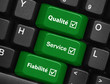 Touches QUALITE SERVICE EFFICACITE (boutons clavier garantie ok)