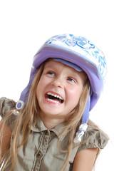 child with helmet