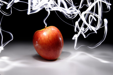 Apple with Long Exposure Light Painting