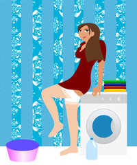 Housewife in the laundry