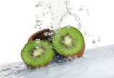 kiwi fruit being washed isolated