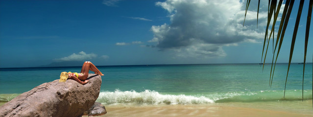 Model is relaxing on tropical beach rock. Panorama.