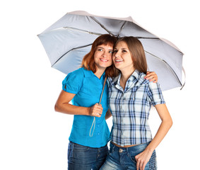 Two teen-girls with umbrella