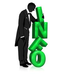 Mann im Anzug stapelt grüne INFO Buchstaben