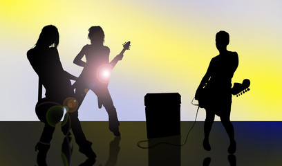 Rock band. Silhouettes of musicians