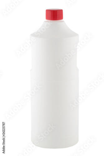 white plastic bottle red cap