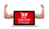 Laptop with unbeatable prices and shopping cart sign