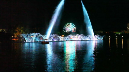 Nightlife entertainment,fountains in a lake
