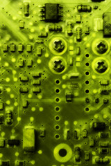 Abstract green background of blurred old circuit board