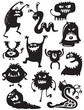 Silhouettes of cute doodle monsters-bacteria - 26229955