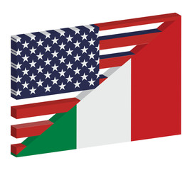 bandiera ita-usa 3d
