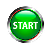 start shiny green button poster